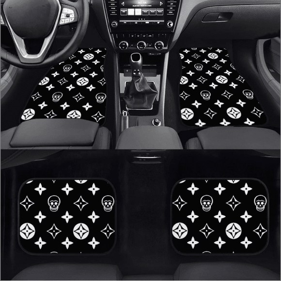 Skull  Shuriken Black Floor Mats