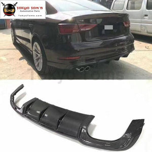 A3 S3 Style Carbon Fiber Rear Bumper Lip Diffuser For Audi 16-17