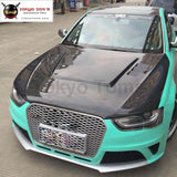 A4 B9 Hs Style Carbon Fiber Car Engine Hood Cover Vents For Audi Front Bumper 13-16