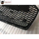 A6 Rs6 All Black Abs Racing Grills Auto Front Bumper Grille With Quattro For Audi 2016-2017