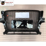 All Black Q5 Rsq5 Style Racing Grills Honeycomb Front Bumper Mesh Grille For Audi 08-12