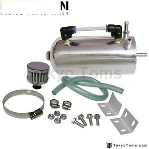 Alloy Polished Chrome Universal Oil Catch Can Breather Tank Kit With Air Filter Fuel Systems