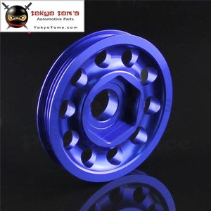Aluminum Crank Pulley Light Weight Fits For Ek9 Integra Dc2 Type R Ctr Black / Blue