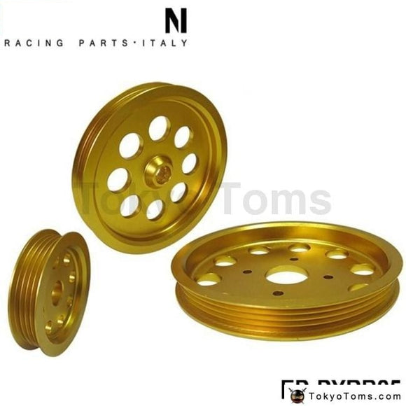 Aluminum Golden Crank Pulley Set For Nissan Skyline Rb25Dets R33 R34 Gt-R