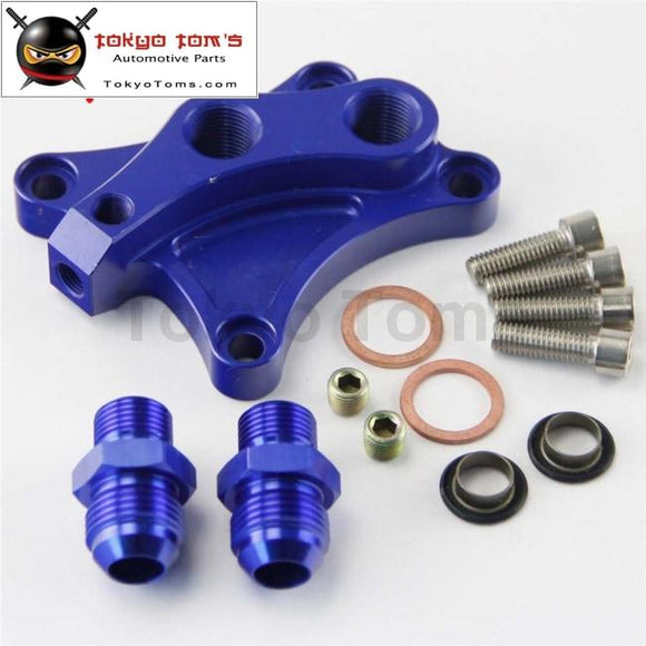 Aluminum Oil Filter Block Adapter For Nissan Sr20Det S13 S14 S15 Sr20De Blue Cooler