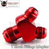 An-10 Inlet An8X2 Outlet Y Block Performance Aluminum Alloy Fittings Adapter Nos Blue/red/black