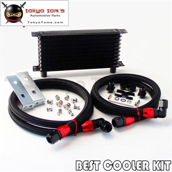 An10 10 Row Oil Cooler Kit For Bmw E36 Euro E82 E9X 135/335 E46 M3 Black
