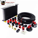 AN10 13 Row 262mm Universal Engine Oil Cooler Trust Type+M20Xp1.5 / 3/4 X 16 Filter Relocation+5M AN10 Oil Line Kit  Black