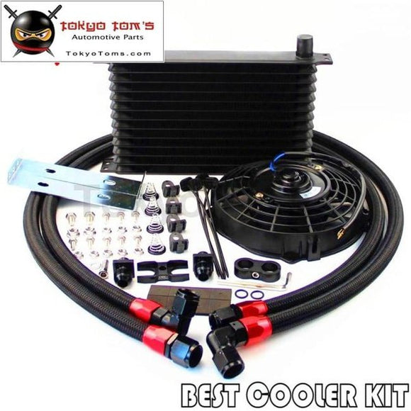 An10 13 Row Oil Cooler + 7 Electric Fan Kit For E36 Euro E82 E9X 135/335 E46 M3