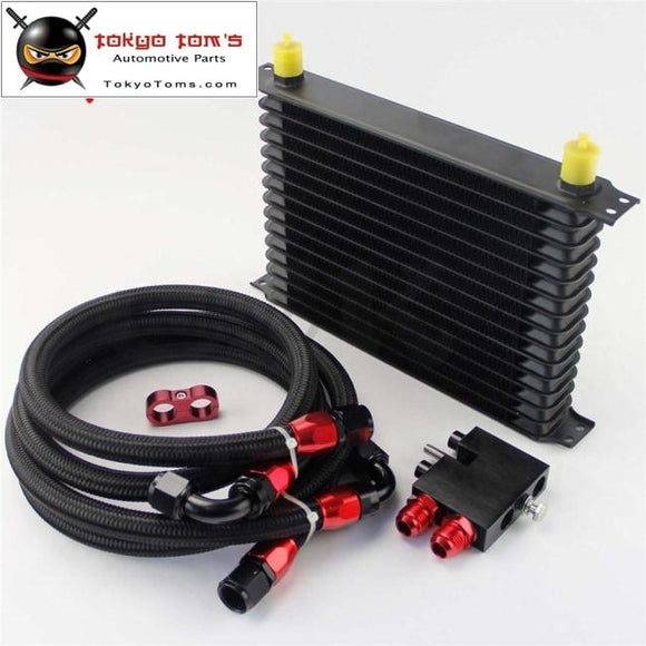 An10 15 Row 262Mm Oil Cooler Kit Fits For Bmw N54 Twin Turbo 135I E82 335I E90 E92 E93 Black / Blue