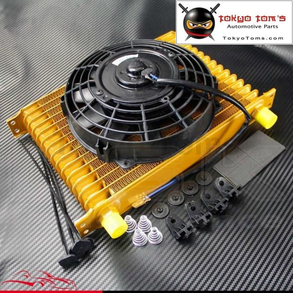 An10 15 Row Engine Oil Cooler + 7 Electric Fan Kit Universal Fit Gold
