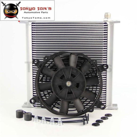 An10 40 Row Aluminum Engine Oil Cooler W/ 7 Electric Fan Fits For Suv / Van Truck