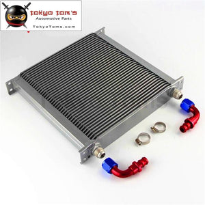 An10 40 Row Aluminum Engine Transmission Oil Cooler Radiator British Style+2Pcs 90 Degree Fittings