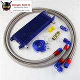 An10 7Row 262Mm Universal Engine Transmission Oil Cooler Trust Type + Aluminum Filter Hose End Kit
