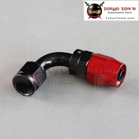 An10 90 Degree Aluminium Oil Hose Fitting Adaptor Reusable Swivel Hose End Cooler Black And Red