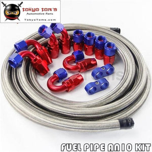 An10 Stainless Steel Braided Hose 16Ft + 10An Fitting End Adaptor Kit
