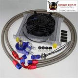 An10 Universal 34 Row Engine Oil Cooler + Filter Adapter +7 Electric Fan Kit Bk
