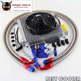 "AN10 Universal 34 Row Engine Oil Cooler + Filter Adapter +7"" Electric Fan Kit Sl"
