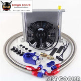 An10 Universal 34 Row Engine Oil Cooler + Filter Adapter +7 Electric Fan Kit Sl
