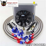 "AN10 Universal 34 Row Filter Relocation Adapter Hose Kit +7"" Electric Fan Kit Sl"