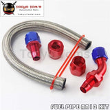 An12 12An Stainless Steel Braided Oil/fuel Line Hose+Straight+45 Degree Swivel Fitting