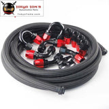 An12 Stainless Steel/ Nylon Braided Oil Line / Hose +Fitting End Adaptor Kit Black/silver