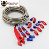 An4 5M Stainless Steel / Nylon Braided Oil Fuel Hose End Fitting W/ Wrench Tools Spanner Kit