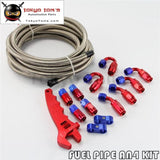 An4 Stainless Steel Braided Hose Line + Fitting Adaptor+Wrench Tools Spanner Kit