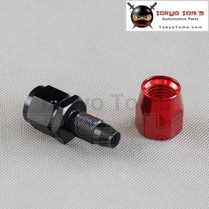 An4 Straight Aluminum Oil Cooler Hose Fitting Reusable End Black And Red An-4 4 An Fuel Push-On