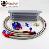 An8 13 Row 248Mm Universal Engine Transmission Oil Cooler British Type + Aluminum Filter Hose End