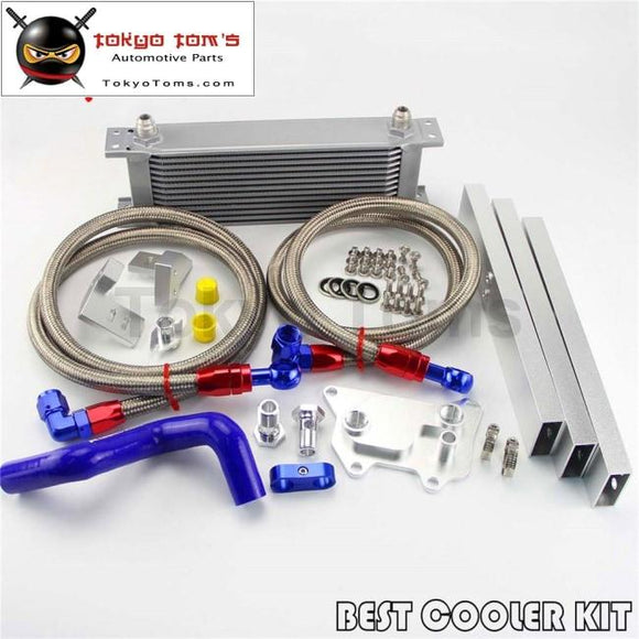 An8 13 Row Oil Cooler Full Kit Fits For Vw Golf Mk7 Gti Engine Ea-888Iii Black/silver