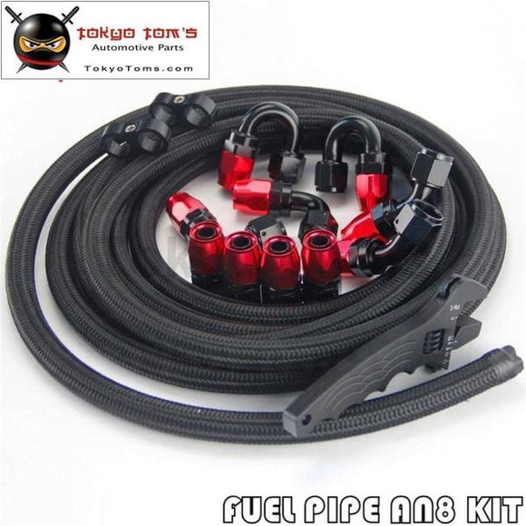 An8 5M Stainless Steel/nylon Oil Fuel Line Fitting Hose End W/ Wrench Spanner Kit Black/silver