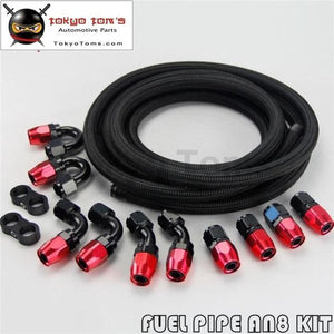 An8 8An Stainless Steel Nylon Braided Oil Fuel Line Hose+Fitting Hose End Kit Black