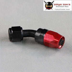 An8 An-8 45 Degree Hose End Aluminum Swivel Fitting Oil Fuel Line Adapter Black And Red