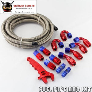 An8 Steel Stainess Braided Oil Fuel Line Hose End Fitting +Wrench Tools Spanner Kit