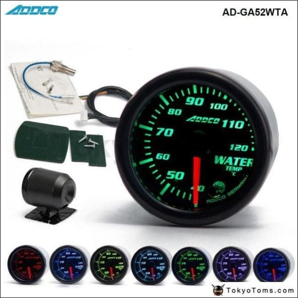 Auto 2 52Mm 7 Color Led Smoke Face Water Temp Gauge Temperature Meter With Sensor Car Meter Gauge