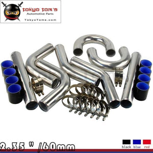 Black 2.36 Inches 60Mm Turbo/supercharger Intercooler Polish Pipe Piping Kit Aluminum