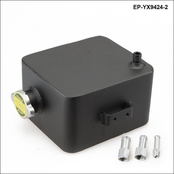 Black Aluminium Universal 2 Litre Polished Alloy Header Expansion Water Tank & Cap 2L Fuel Systems
