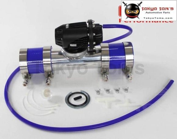 Black Aluminum Billet Anodized Type-4 Sqv Blow Off Valve Bov +3 Or 76Mm Flange Pipe +Clamps+ Blue
