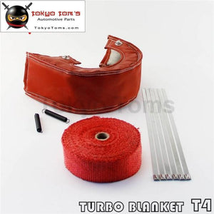 Black / Blue Red T4 Turbo Heat Shield Blanket Cover +10M X 2 Manifold Downpipe Wrap+ Zip Ties