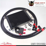 Black Nylon 10 Row Oil Cooler Kit M20Xp1.5 Filter Fitting Adapter Thermostat / Blue