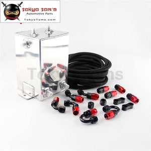 Black / Polished Silver Matte An6 3L 3 Litre Swirl Port Fuel Surge Tank +5M Line +An6 Fittings Kit