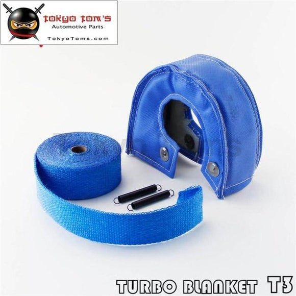 Blue Turbo Heat Shield Blanket Cover T 3 T3 +30Ft Manifold Downpipe Wrap 2Mm Thick