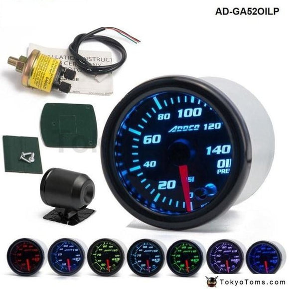 Car Auto 12V 52Mm/2 7 Colors Universal Oil Press Gauge Pressure Meter Led With Sensor And Holder