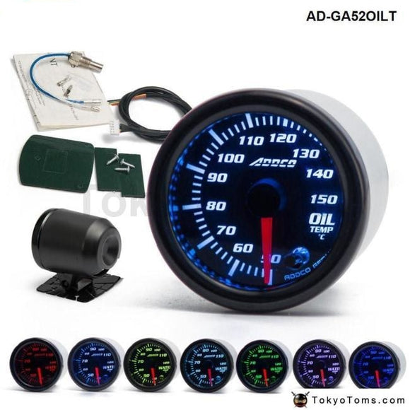 Car Auto 12V 52Mm/2 7 Colors Universal Oil Temp Gauge Led With Sensor And Holder Ad-Ga52Oilt Gauges