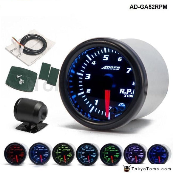 Car Auto 12V 52Mm/2 7 Colors Universal Tachometer Gauge Meter Led With Sensor And Holder Ad-Ga52Rpm