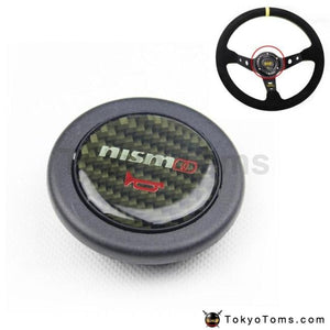 Car Styling Black Carbon Fiber Racing Steering Wheel Horn Button For Nissan
