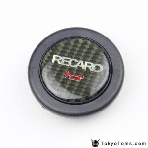Car Styling Carbon Fiber Black Recaro Racing Steering Wheel Horn Button For Universal