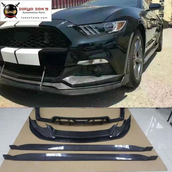 Carbon Fiber Front Bumper Lip Rear Diffuser Side Skirts For Ford Mustang Car Body Kit 15-17