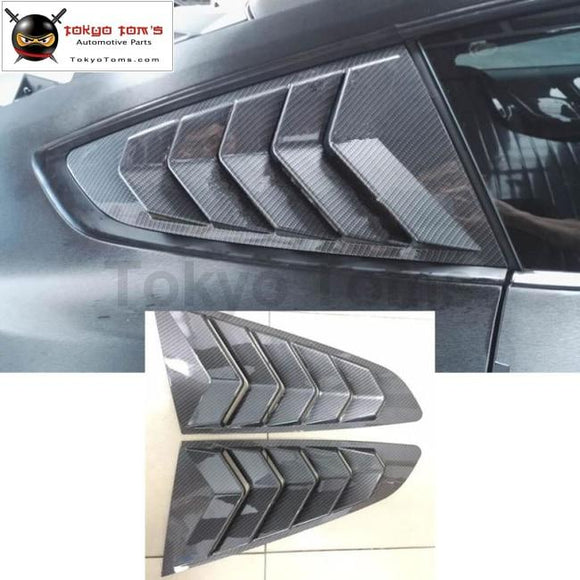 Carbon fiber side grille covers car side window trims vent for Ford Mustang 2015